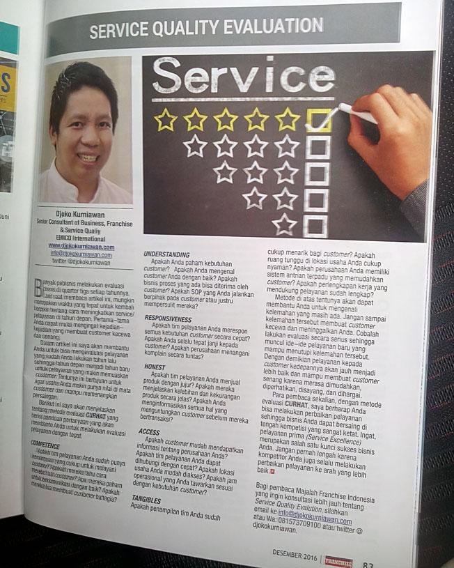Djoko Kurniawan, Konsultan Franchise di Majalah Info Franchise Edisi Des 16